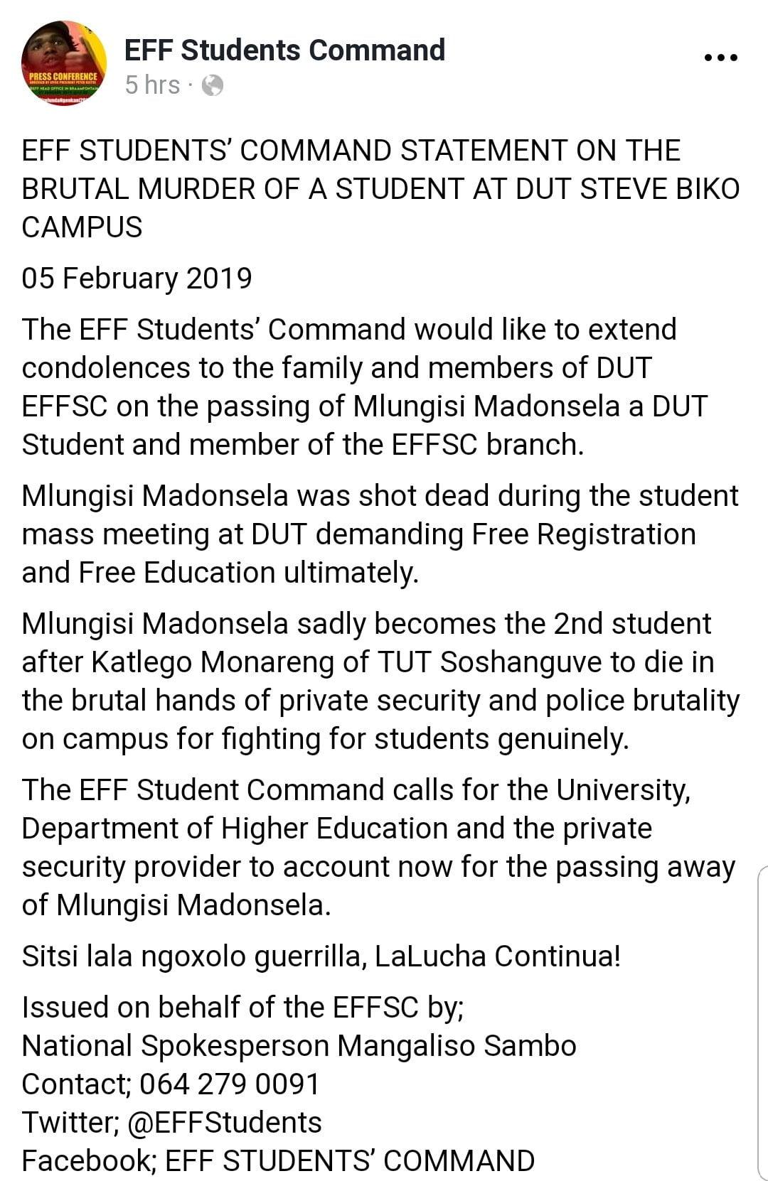 EFF Stufents command statement on #DUTShooting
