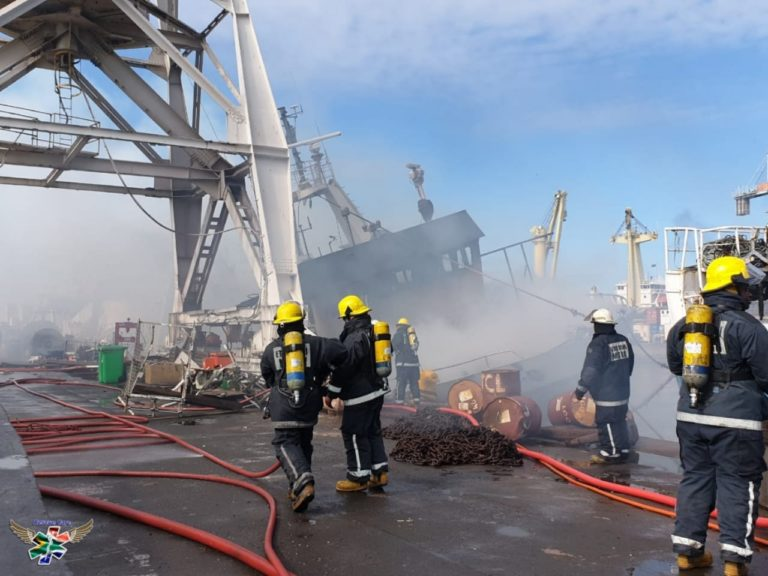 ship on fire at durban harbour